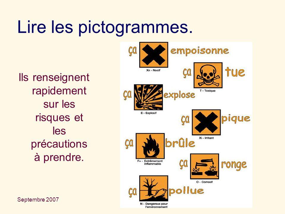 Lire les pictogrammes. Ils renseignent rapidement sur les risques et les précautions à prendre. La sécurité en TP.