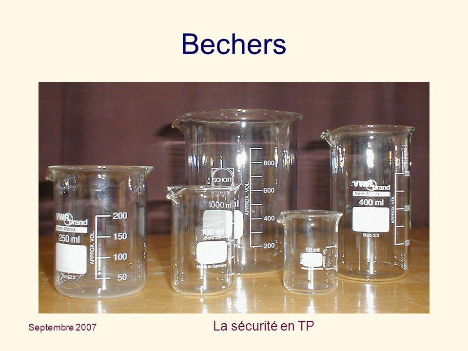 Bechers La sécurité en TP Septembre 2007