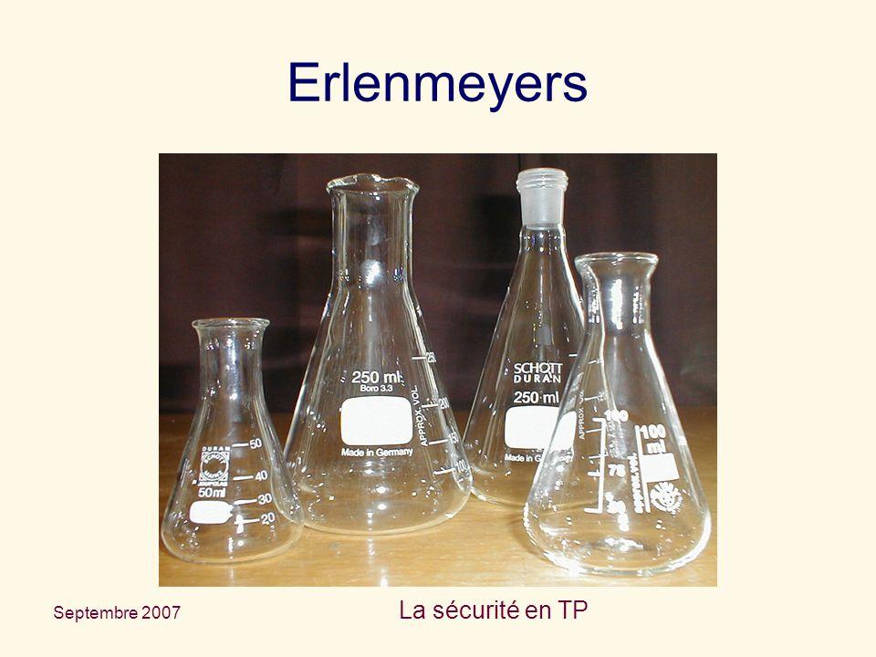 Erlenmeyers La sécurité en TP Septembre 2007