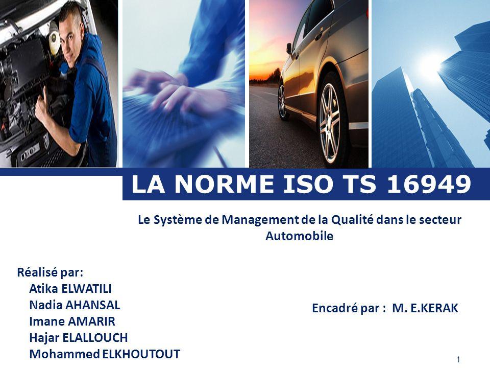 Le Système de Management de la Qualité dans le secteur Automobile