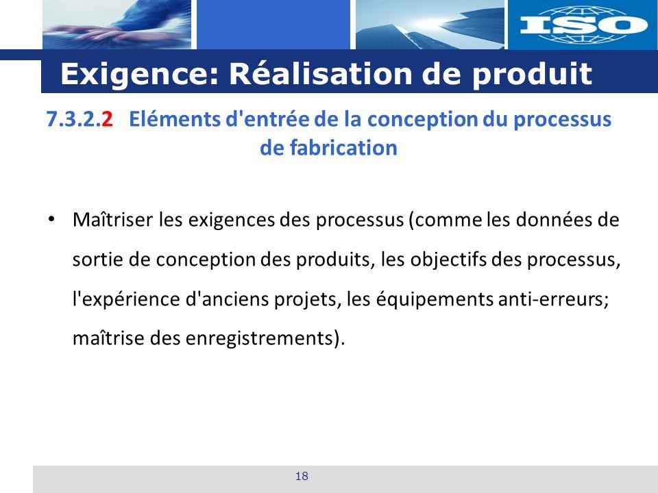 Exigence: Réalisation de produit