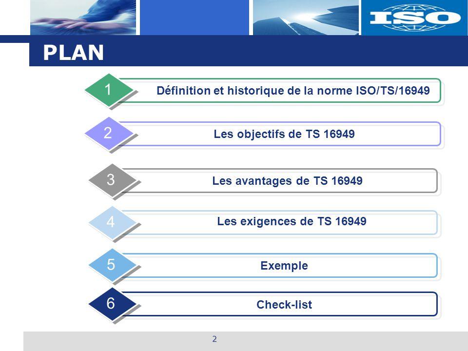 PLAN 1 2 3 4 5 6 Définition et historique de la norme ISO/TS/16949