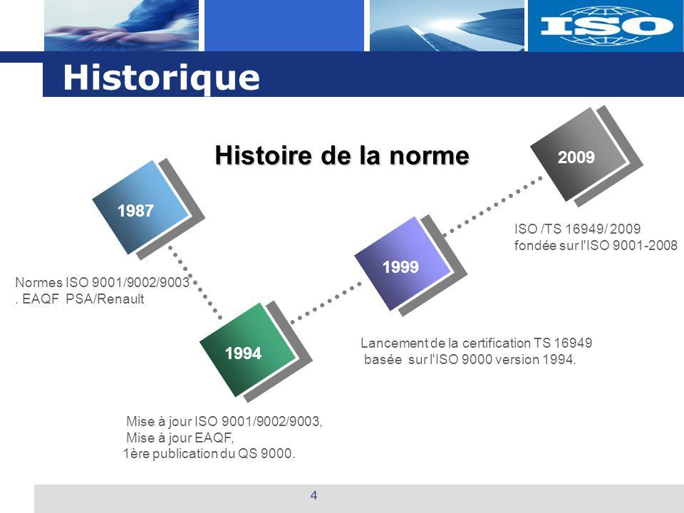 Historique Histoire de la norme 2009 1987 1999 1994