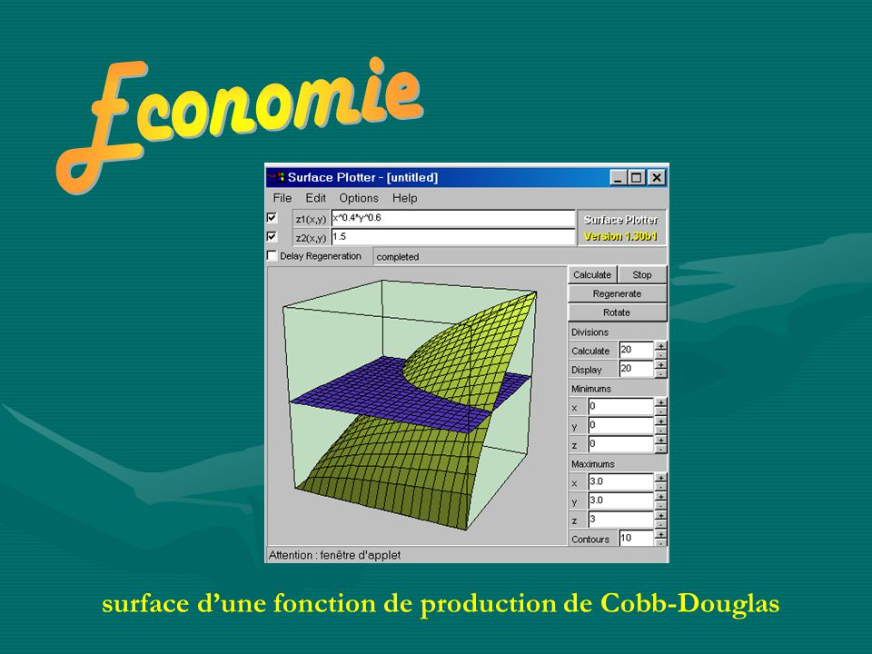 Economie surface d'une fonction de production de Cobb-Douglas