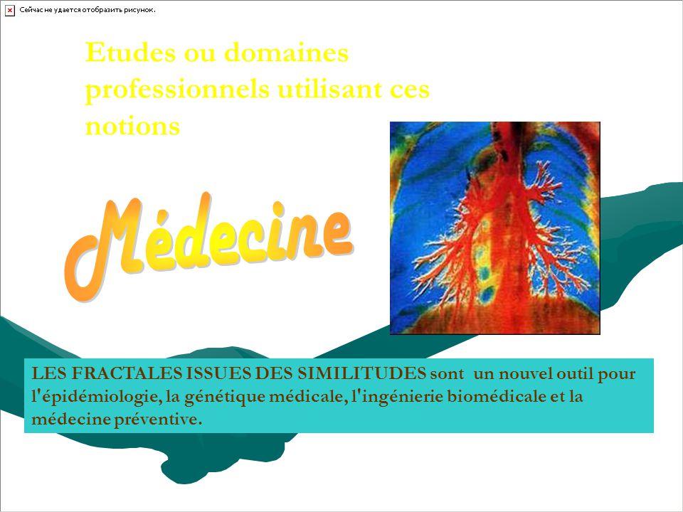 Médecine Etudes ou domaines professionnels utilisant ces notions