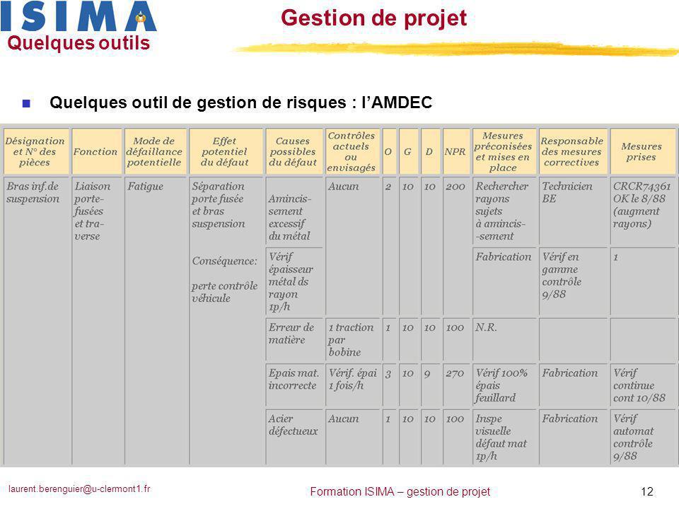 Quelques outils Quelques outil de gestion de risques : l'AMDEC