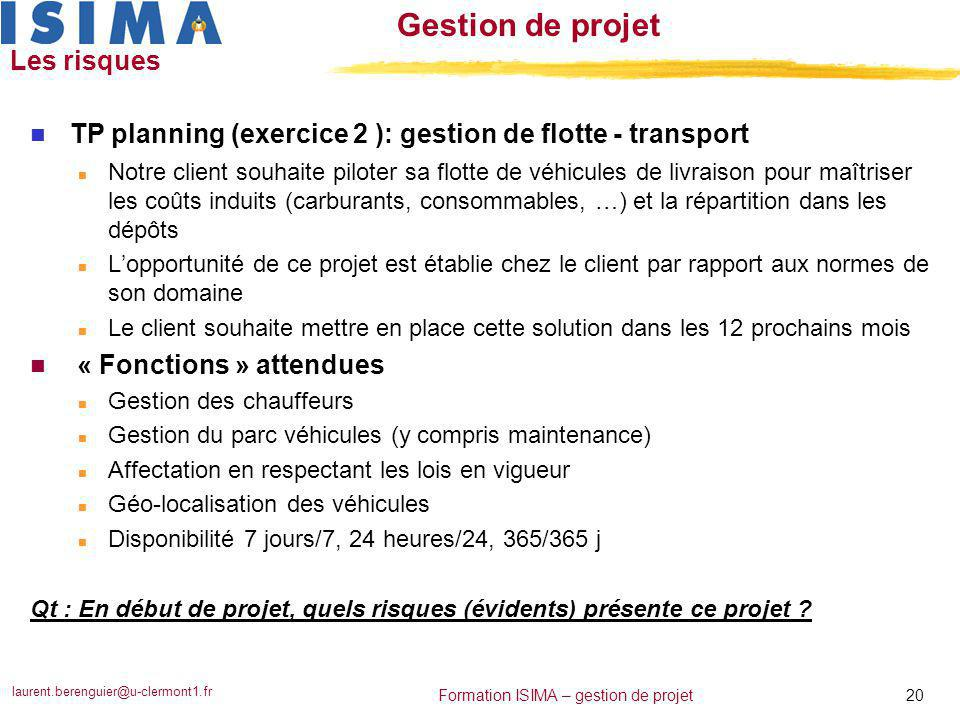 TP planning (exercice 2 ): gestion de flotte - transport