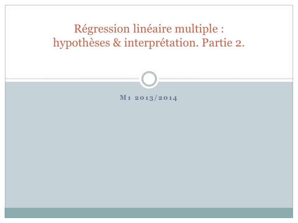 Régression linéaire multiple : hypothèses & interprétation. Partie 2.