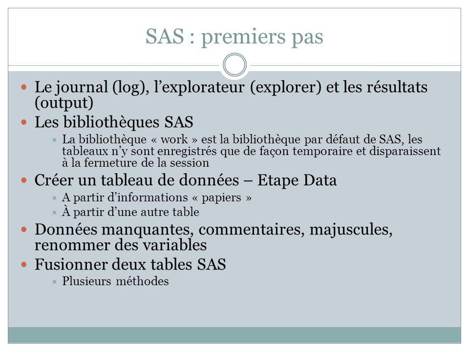 SAS : premiers pas Le journal (log), l'explorateur (explorer) et les résultats (output) Les bibliothèques SAS.