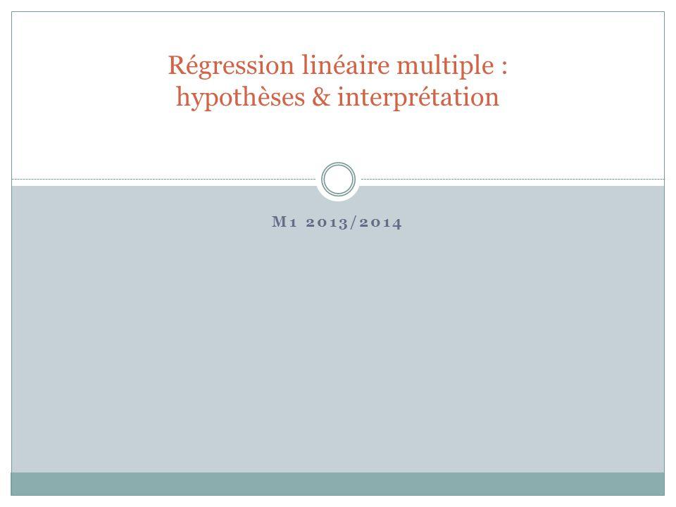 Régression linéaire multiple : hypothèses & interprétation