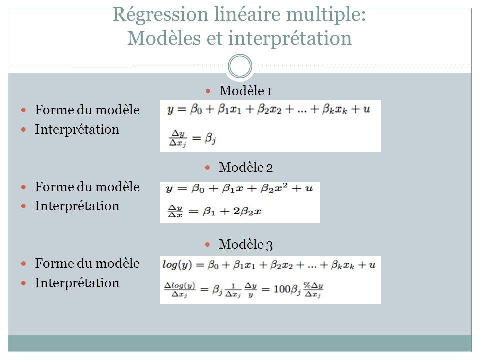 Régression linéaire multiple: Modèles et interprétation