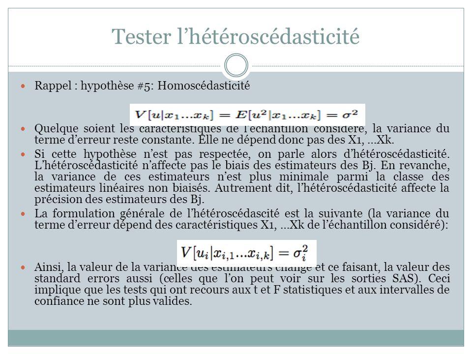 Tester l'hétéroscédasticité