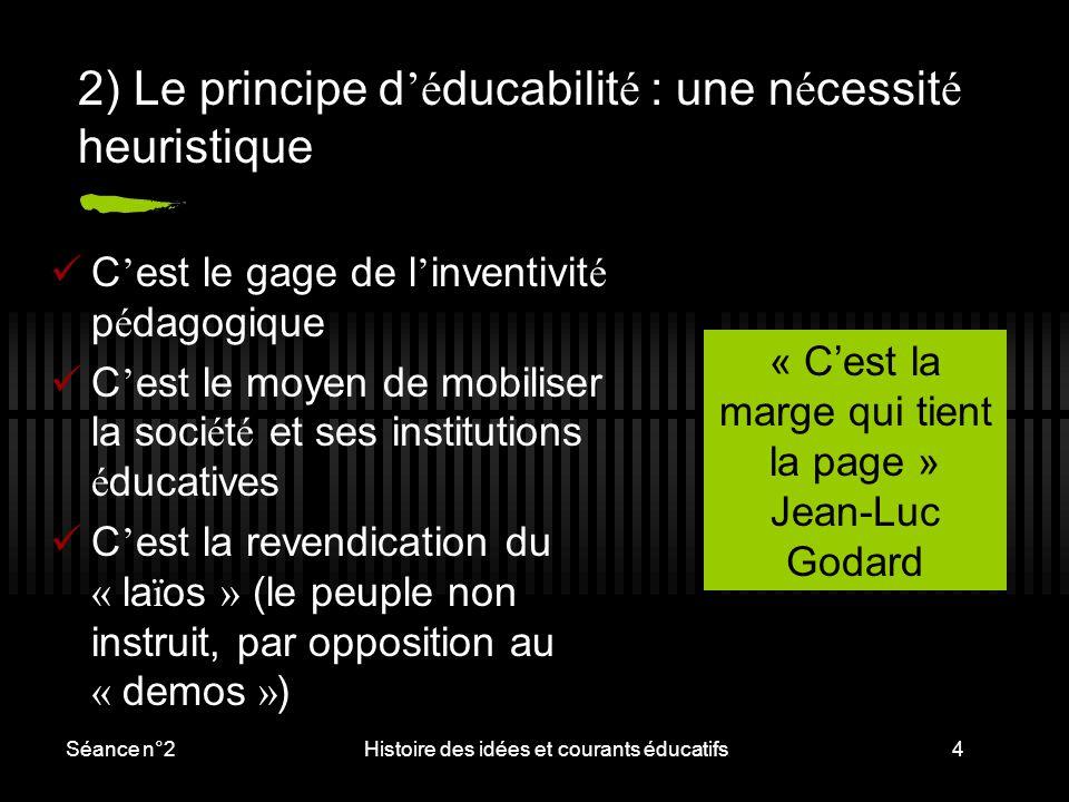 2) Le principe d'éducabilité : une nécessité heuristique