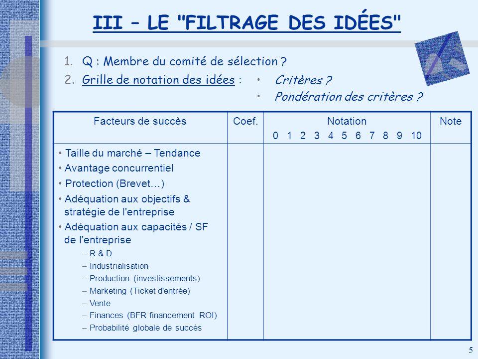 III – LE FILTRAGE DES IDÉES
