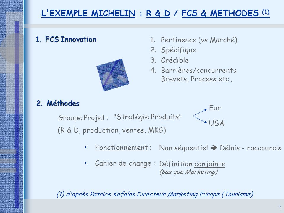 L EXEMPLE MICHELIN : R & D / FCS & METHODES (1)
