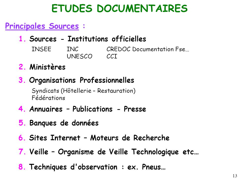 ETUDES DOCUMENTAIRES Principales Sources :