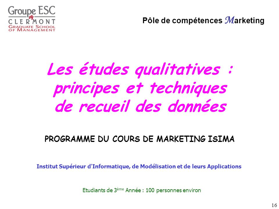 PROGRAMME DU COURS DE MARKETING ISIMA