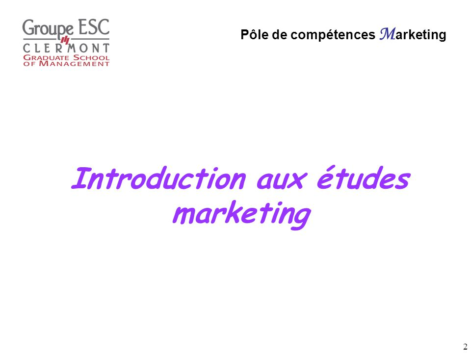 Introduction aux études marketing