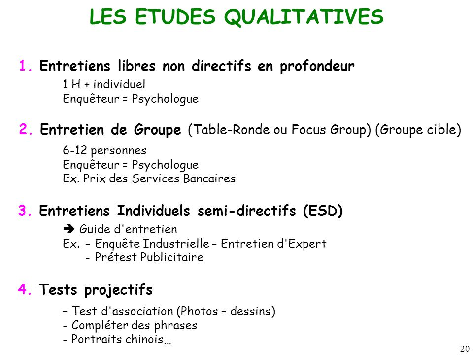 LES ETUDES QUALITATIVES