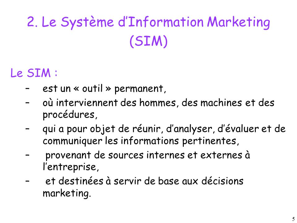 2. Le Système d'Information Marketing