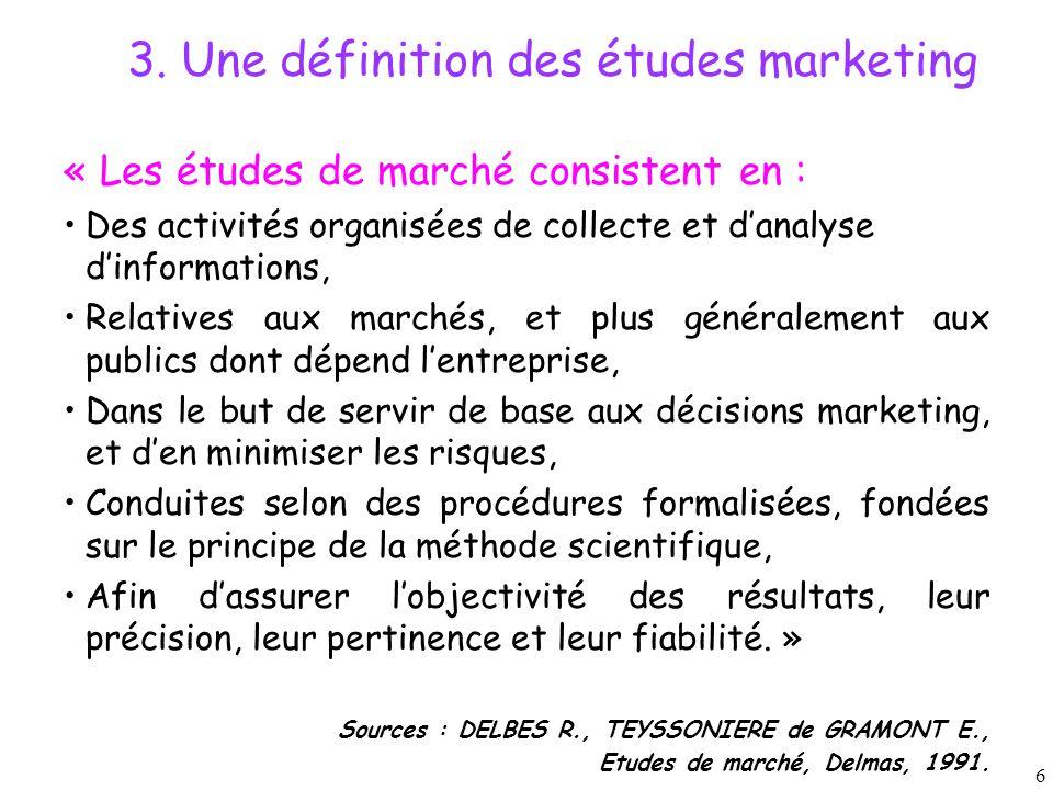 3. Une définition des études marketing