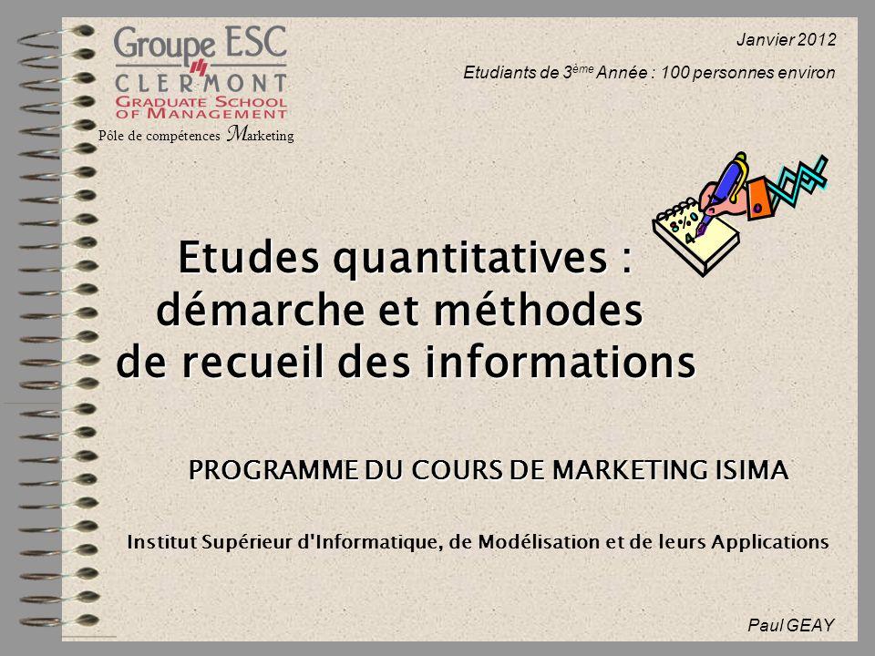 Etudes quantitatives : démarche et méthodes