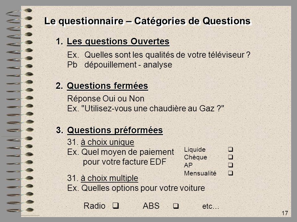 Le questionnaire – Catégories de Questions
