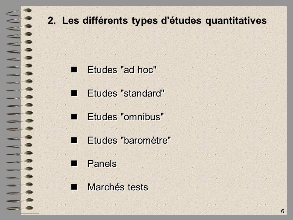 Les différents types d études quantitatives