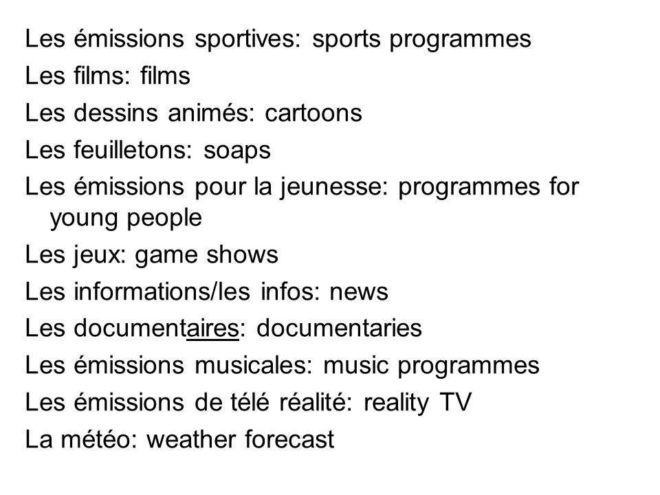 Les émissions sportives: sports programmes