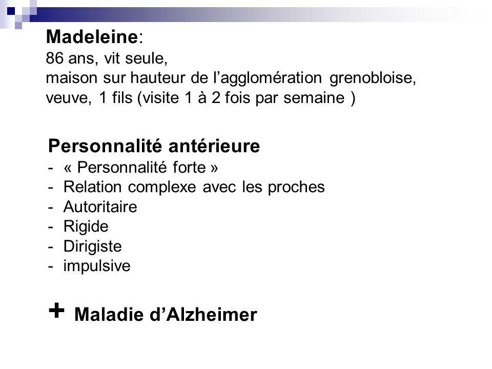 + Maladie d'Alzheimer Madeleine: Personnalité antérieure