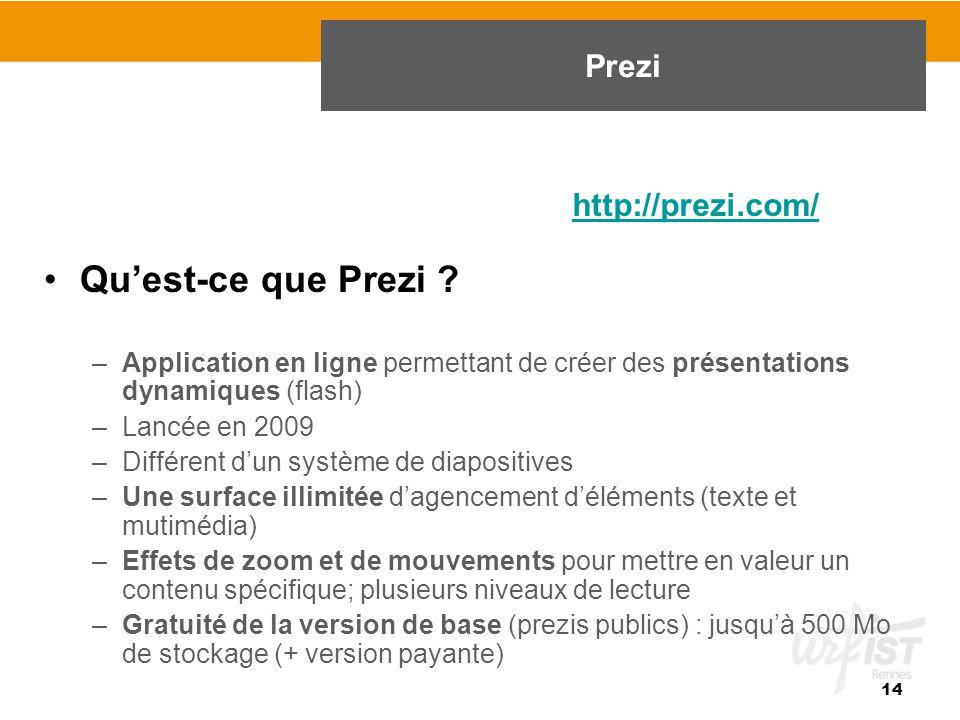 Qu'est-ce que Prezi Prezi http://prezi.com/