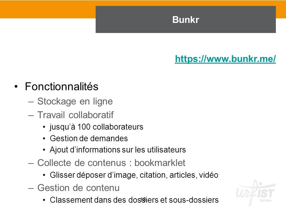 Fonctionnalités Bunkr https://www.bunkr.me/ Stockage en ligne