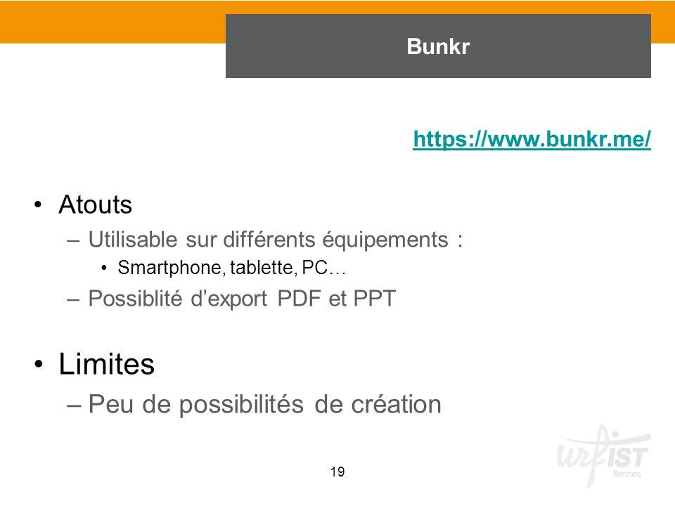 Limites Atouts Peu de possibilités de création Bunkr