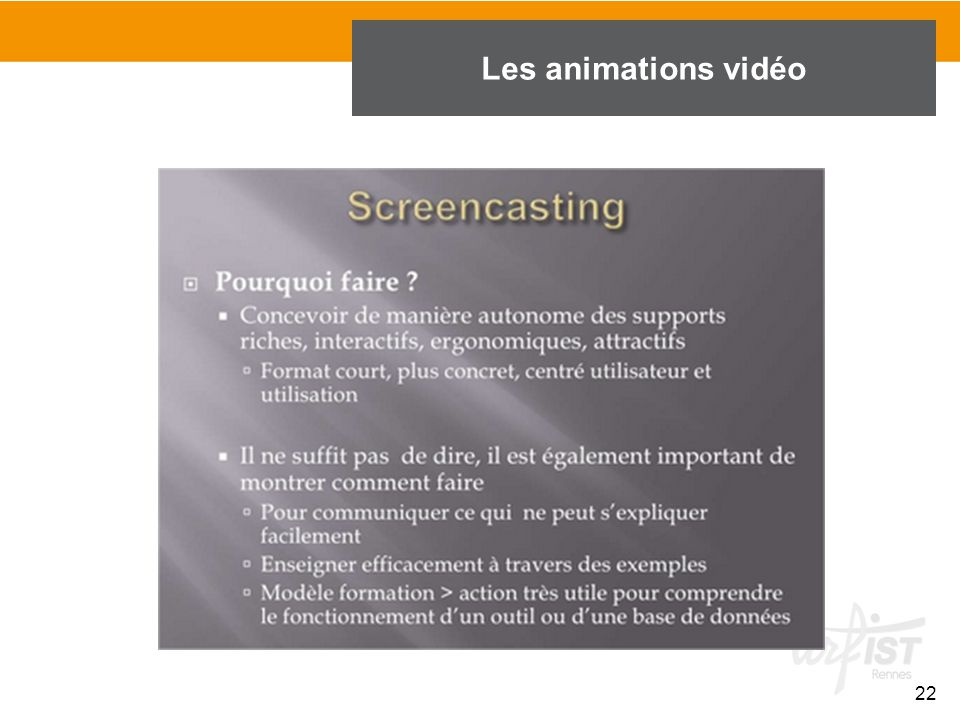 Les animations vidéo 22