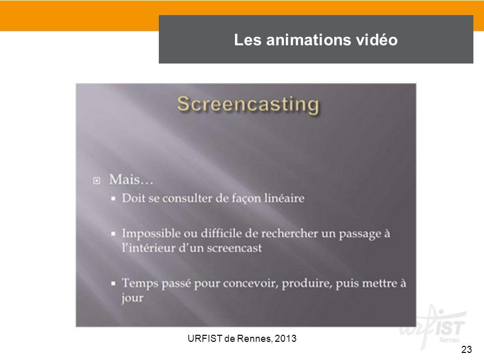 Les animations vidéo URFIST de Rennes, 2013 23 23