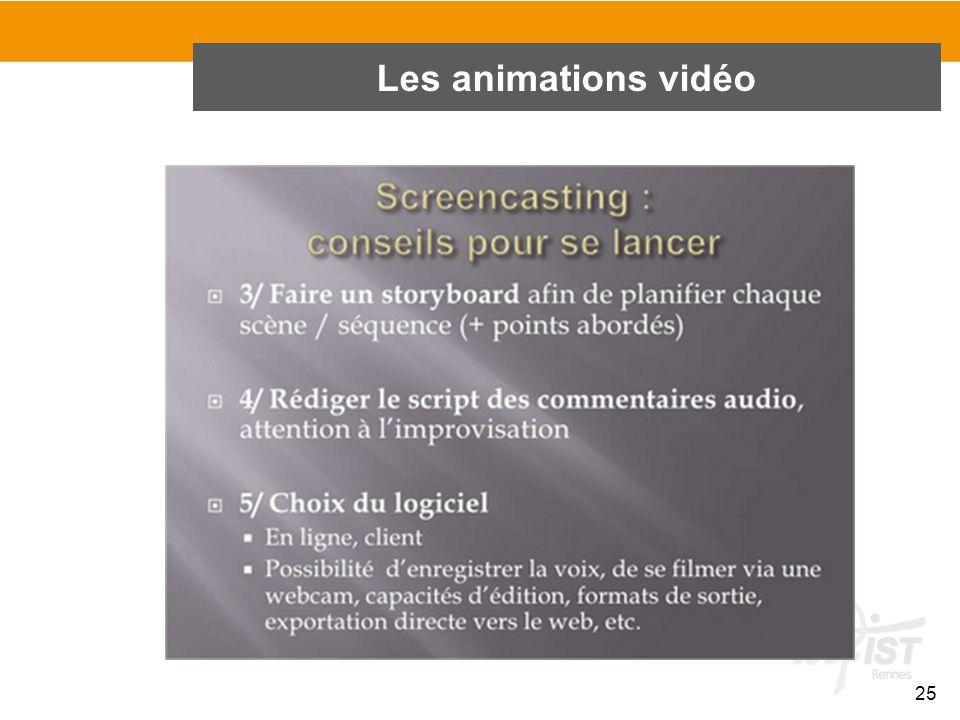 Les animations vidéo 25