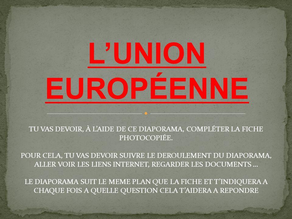 L'UNION EUROPÉENNE TU VAS DEVOIR, À L'AIDE DE CE DIAPORAMA, COMPLÉTER LA FICHE PHOTOCOPIÉE.