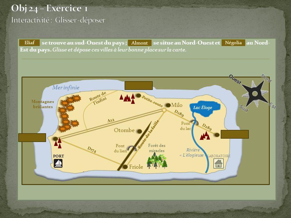 Obj 24 – Exercice 1 Interactivité : Glisser -déposer