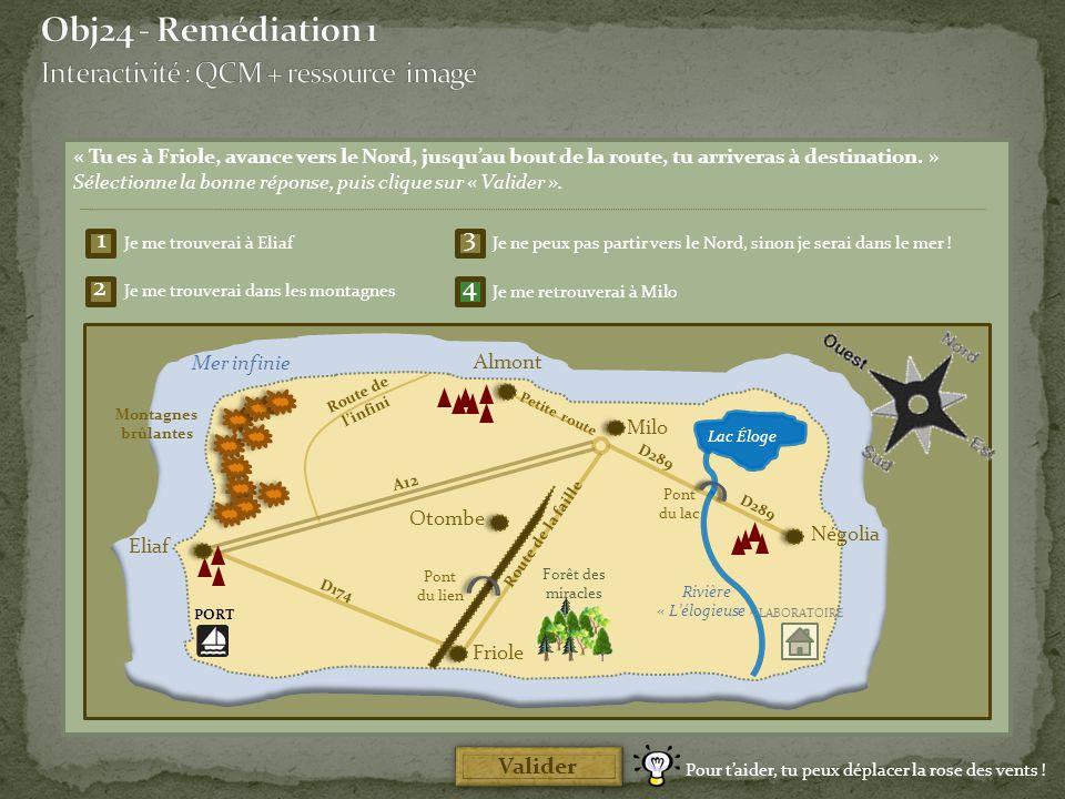 Obj24 - Remédiation 1 Interactivité : QCM + ressource image 1 3 2 4