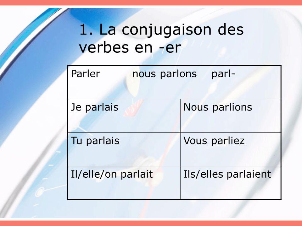 1. La conjugaison des verbes en -er