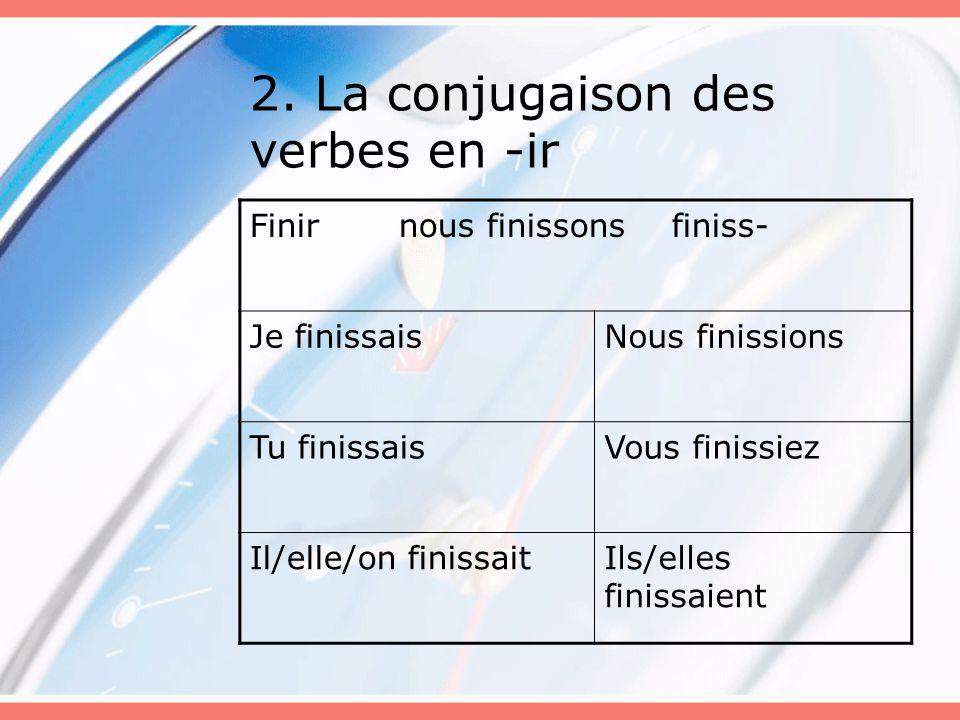 2. La conjugaison des verbes en -ir