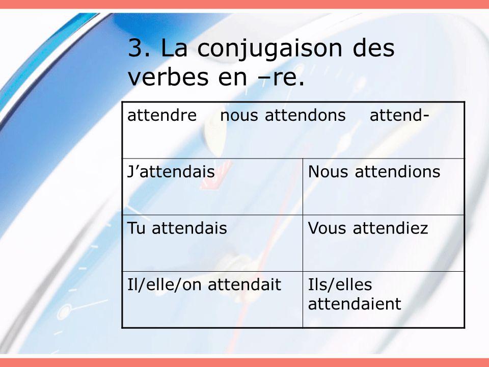 3. La conjugaison des verbes en –re.