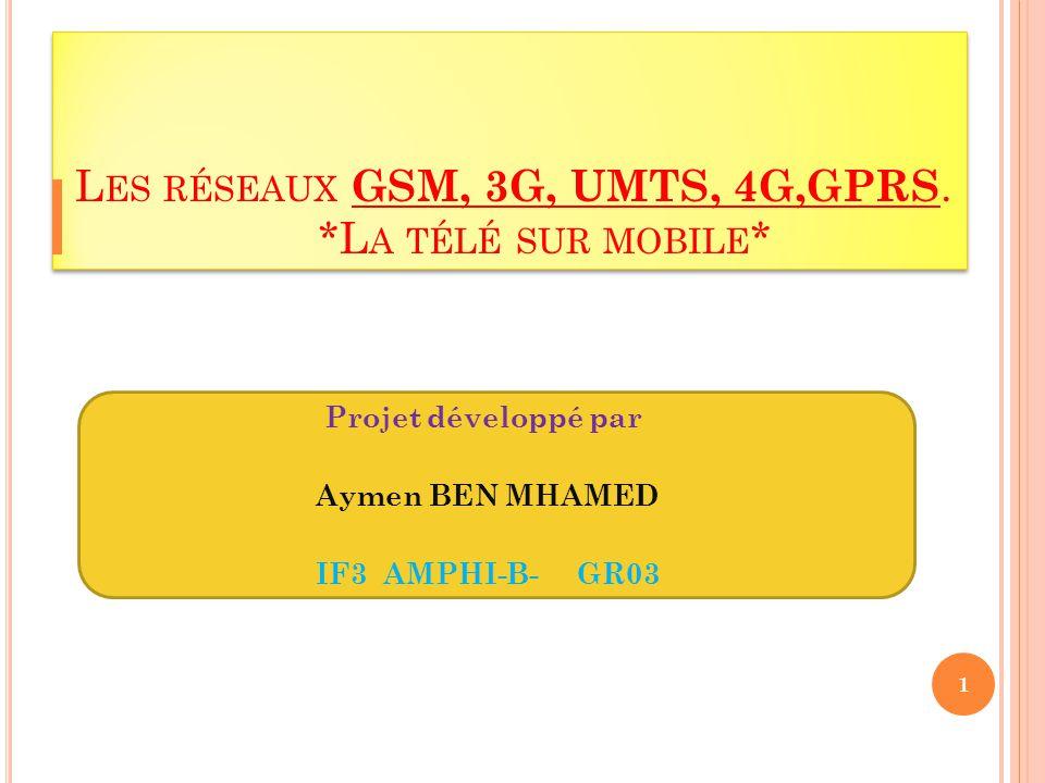 Les réseaux GSM, 3G, UMTS, 4G,GPRS. *La télé sur mobile*