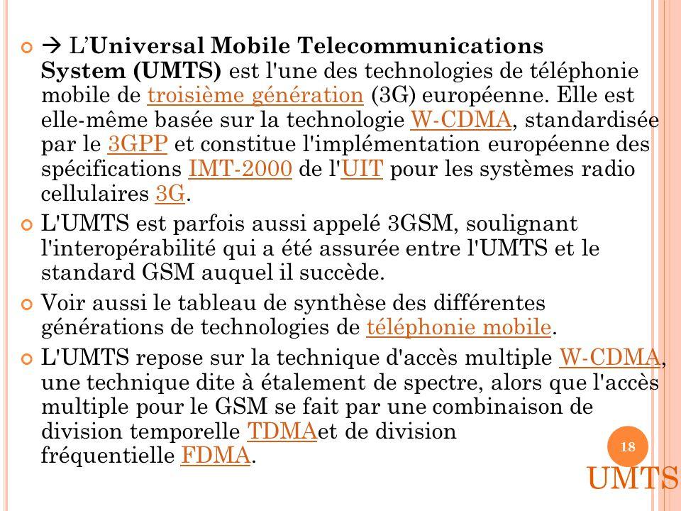  L'Universal Mobile Telecommunications System (UMTS) est l une des technologies de téléphonie mobile de troisième génération (3G) européenne. Elle est elle-même basée sur la technologie W-CDMA, standardisée par le 3GPP et constitue l implémentation européenne des spécifications IMT-2000 de l UIT pour les systèmes radio cellulaires 3G.