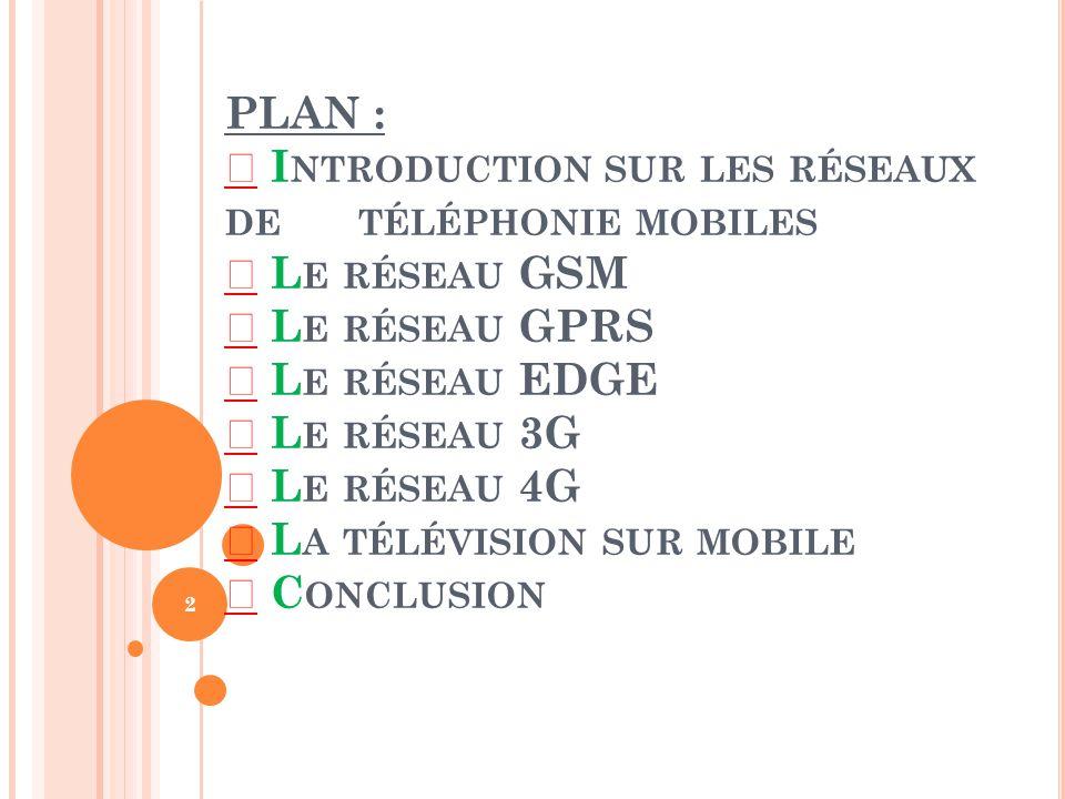 PLAN :  Introduction sur les réseaux de téléphonie mobiles  Le réseau GSM  Le réseau GPRS  Le réseau EDGE  Le réseau 3G  Le réseau 4G  La télévision sur mobile  Conclusion