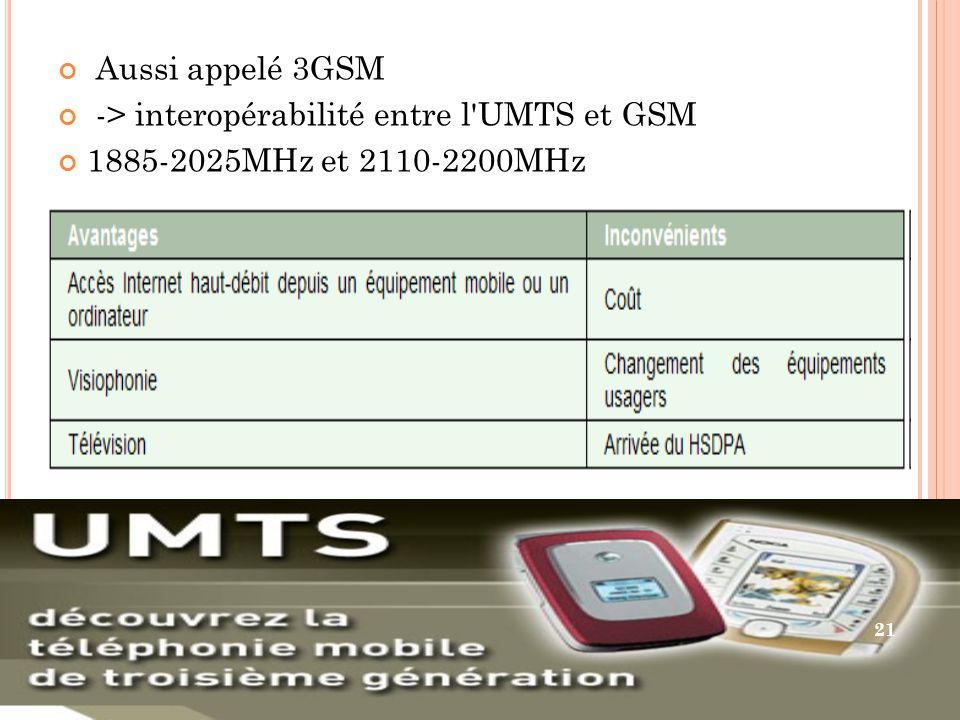 Aussi appelé 3GSM -> interopérabilité entre l UMTS et GSM 1885-2025MHz et 2110-2200MHz