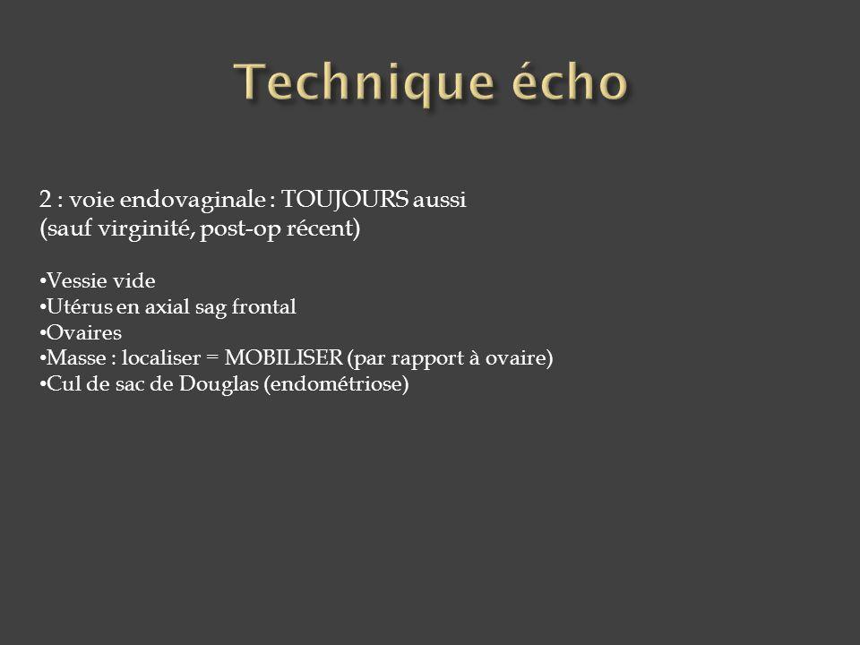 Technique écho 2 : voie endovaginale : TOUJOURS aussi