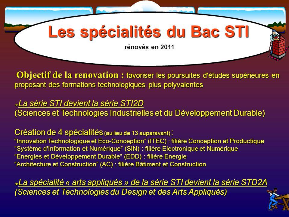 Les spécialités du Bac STI rénovés en 2011