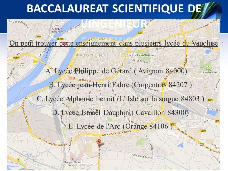 BACCALAUREAT SCIENTIFIQUE DE L'INGENIEUR