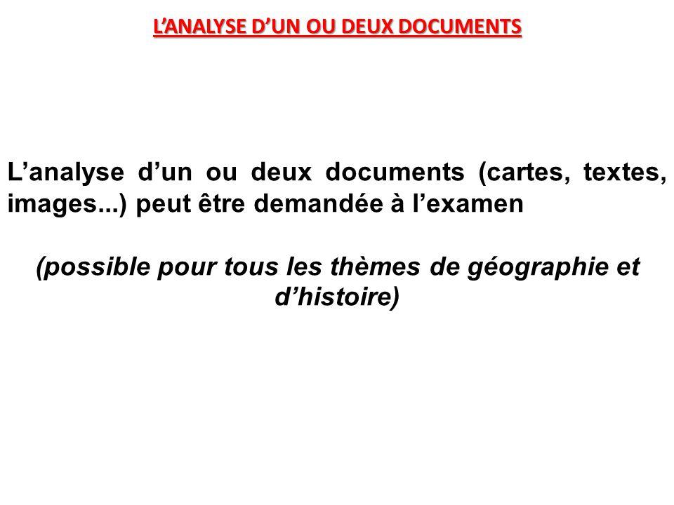 (possible pour tous les thèmes de géographie et d'histoire)